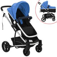 vidaXL 2-in-1 Baby Stroller/Pram Aluminium Blue and Black