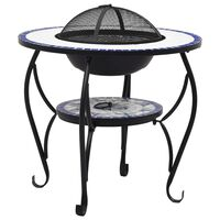 vidaXL Mosaic Fire Pit Table Blue and White 68 cm Ceramic