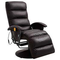 vidaXL TV Massage Recliner Brown Faux Leather