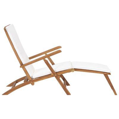 vidaXL Deck Chair with Cushion Cream White Solid Teak Wood