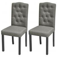 vidaXL Dining Chairs 2 pcs Light Grey Fabric
