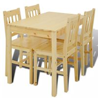 Wooden Dining Table with 4 Chairs Natural
