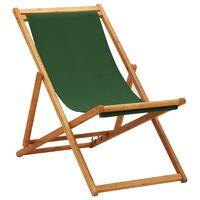 vidaXL Folding Beach Chair Eucalyptus Wood and Fabric Green