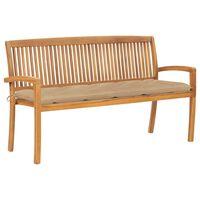 vidaXL Stacking Garden Bench with Cushion 159 cm Solid Teak Wood