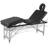 Black Foldable Massage Table 4 Zones with Aluminium Frame