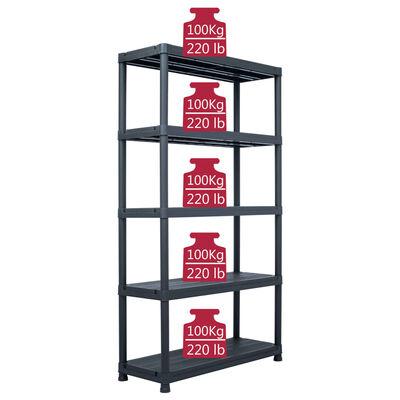 vidaXL Storage Shelf Racks 2 pcs Black 500 kg 100x40x180 cm Plastic,