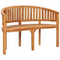 vidaXL Banana Bench 120 cm Solid Teak Wood