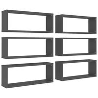 vidaXL Wall Shelves 6 pcs Grey 60x15x23 cm Chipboard