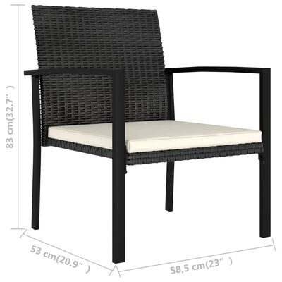 vidaXL Garden Dining Chairs 2 pcs Poly Rattan Black