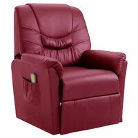 vidaXL Massage Recliner Chair Wine Red Faux Leather