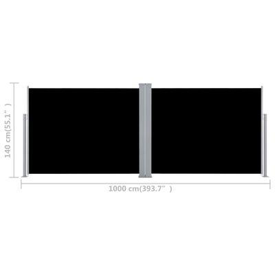 vidaXL Retractable Side Awning Black 140x1000 cm