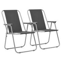 vidaXL Folding Camping Chairs 2 pcs 52x59x80 cm Grey
