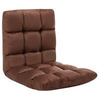 vidaXL Folding Floor Chair Brown Microfibre