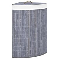 vidaXL Bamboo Corner Laundry Basket Grey 60 L