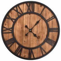 vidaXL Vintage Wall Clock with Quartz Movement Wood and Metal 60 cm XXL