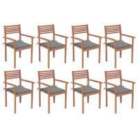 vidaXL Stackable Garden Chairs with Cushions 8 pcs Solid Teak Wood