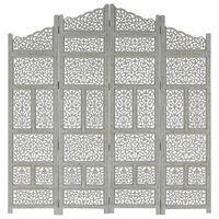 vidaXL Hand carved 4-Panel Room Divider Grey 160x165 cm Solid Mango Wood