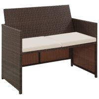 vidaXL 2 Seater Garden Sofa with Cushions Brown Poly Rattan