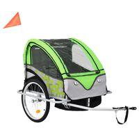 vidaXL 2-in-1 Kids' Bicycle Trailer & Stroller Green and Grey