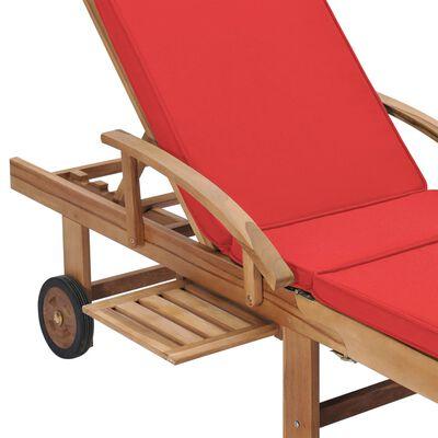 vidaXL Sun Loungers with Cushions 2 pcs Solid Teak Wood Red