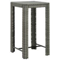 vidaXL Garden Bar Table Grey 60.5x60.5x110.5 cm Poly Rattan