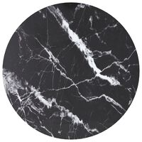 vidaXL Table Top Black Ø60x0.8 cm Tempered Glass with Marble Design