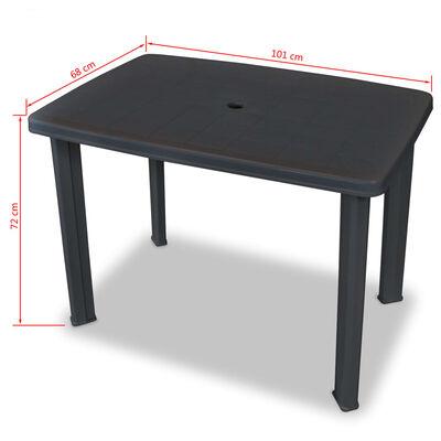 vidaXL Garden Table Anthracite 101x68x72 cm Plastic
