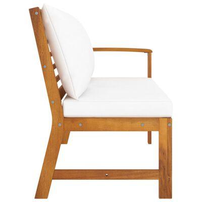vidaXL Garden Bench 114.5 cm with Cream Cushion Solid Acacia Wood