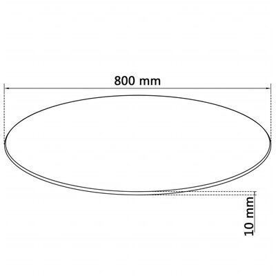 vidaXL Table Top Tempered Glass Round 800 mm