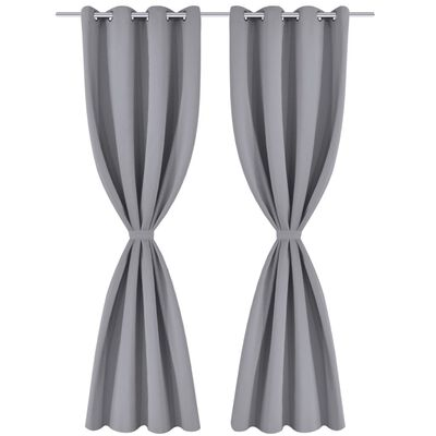 2 pcs Grey Blackout Curtains with Metal Rings 135 x 245 cm