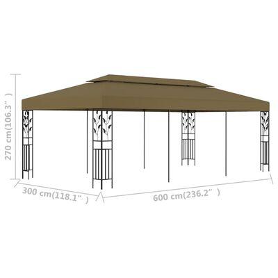 vidaXL Gazebo 6x3 m Taupe 180 g/m²