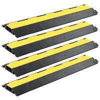 vidaXL Cable Protector Ramps 4 pcs 2 Channels Rubber 101.5 cm