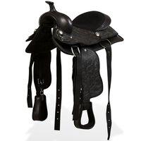 "vidaXL Western Saddle, Headstall&Breast Collar Real Leather 13"" Black"