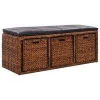 vidaXL Bench with 3 Baskets Seagrass 105x40x42 cm Brown