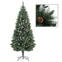 vidaXL Artificial Christmas Tree with Pine Cones and White Glitter 180 cm