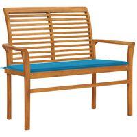 vidaXL Garden Bench with Blue Cushion 112 cm Solid Teak Wood