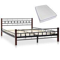 vidaXL Bed with Memory Foam Mattress Black Metal 137x187 cm Double