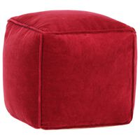 vidaXL Pouffe Cotton Velvet 40x40x40 cm Ruby Red