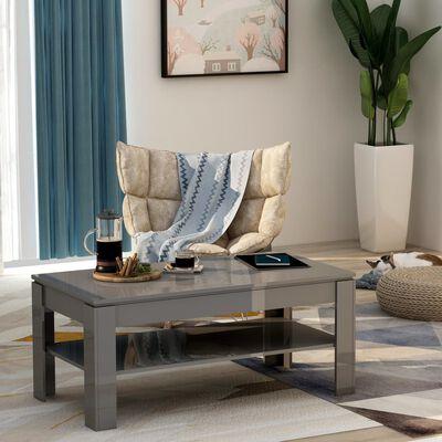 vidaXL Coffee Table High Gloss Grey 110x60x47 cm Chipboard