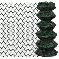 140348 vidaXL Chain Link Fence Steel 0,8x25 m Green