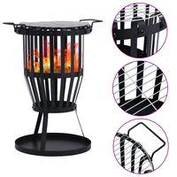 vidaXL Garden Fire Pit Basket with BBQ Grill Steel 47.5 cm