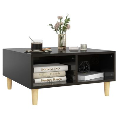 vidaXL Coffee Table High Gloss Black 60x60x30 cm Chipboard