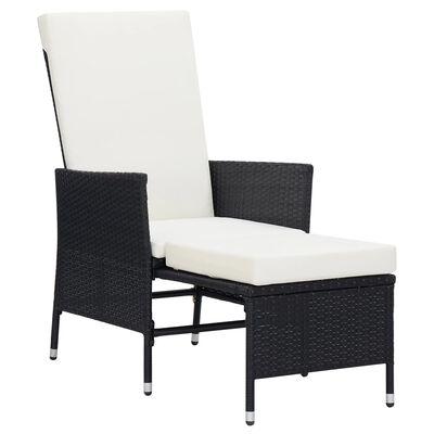 vidaXL Reclining Garden Chair with Cushions Poly Rattan Black