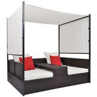 vidaXL Garden Bed with Canopy Brown 190x130 cm Poly Rattan
