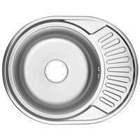 vidaXL Kitchen Sink with Overflow Hole Oval Stainless Steel