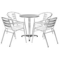 vidaXL 5 Piece Outdoor Dining Set Aluminium Silver