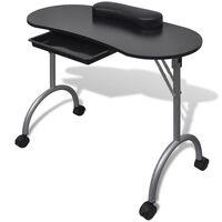 vidaXL Folding Manicure Nail Table with Castors Black