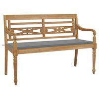 vidaXL Batavia Bench with Grey Cushion 150 cm Solid Teak Wood
