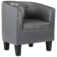 vidaXL Tub Chair Grey Faux Leather