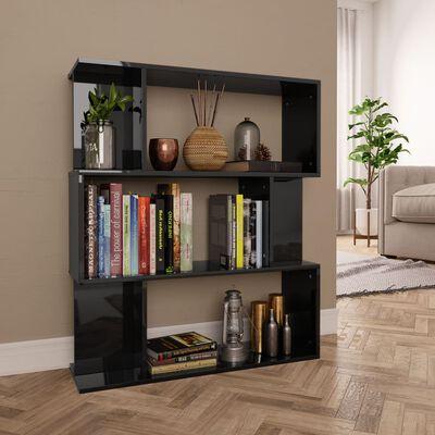 vidaXL Book Cabinet/Room Divider High Gloss Black 80x24x96 cm Chipboard